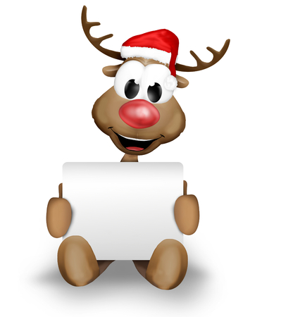 cartoon animal: Christmas Reindeer holding sign