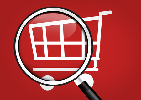 mysteries: Shopping Cart magnifying glass Stock Photo
