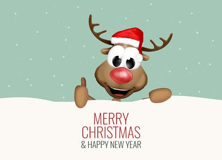 reno: Antecedentes de Navidad Pulgares arriba reno nieve