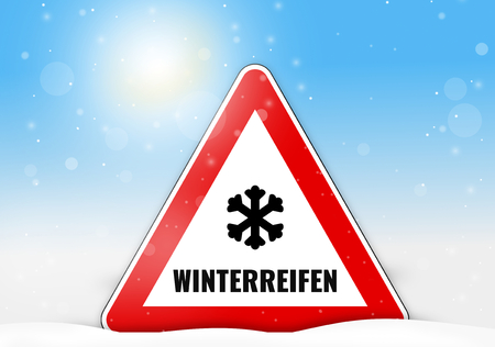 winter tires: German Language Winterreifen for winter tires Stock Photo