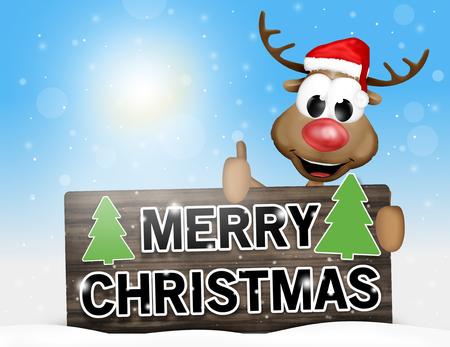 tannenbaum: merry christmas sign happy reindeer