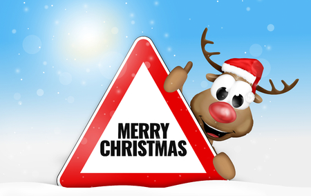 Merry Christmas cute reindeer