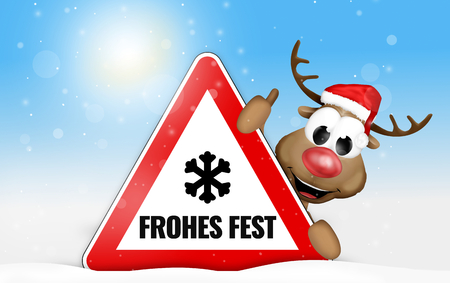 snow tire: German language Frohes Fest for Happy Holiday Stock Photo