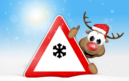 smoothness: snow sign reindeer winter