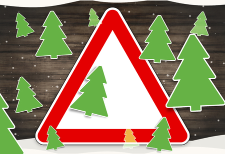 watch out: winter fir christmas red sign