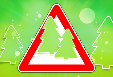 red sign Christmas fir