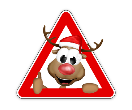 watch out: thumbs up reindeer sign