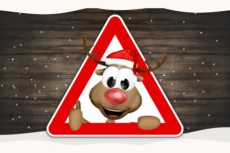 watch out: thumbs up reindeer sign wood background