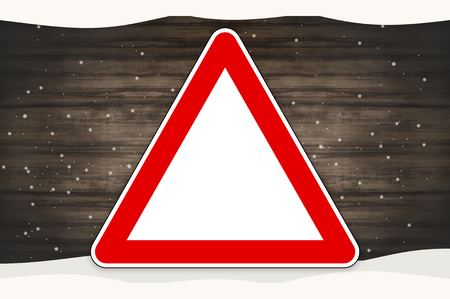 motorists: red sign winter wood background