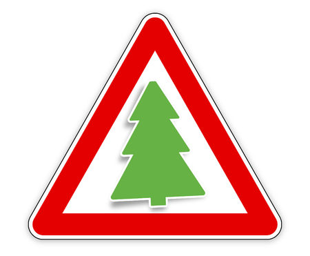 the motorists: fir red sign Stock Photo