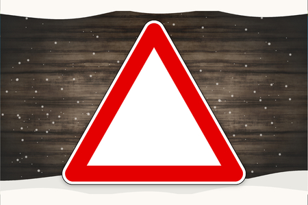 watch out: Red Sign Wood Background