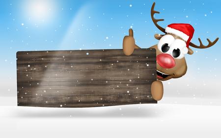 wood christmas reindeer Stock Photo