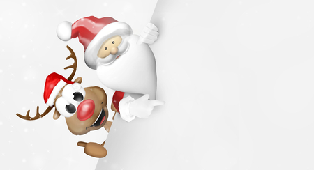 ad space: happy reindeer santa claus Stock Photo