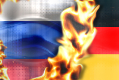 cold war: Fire Russia germany flags background