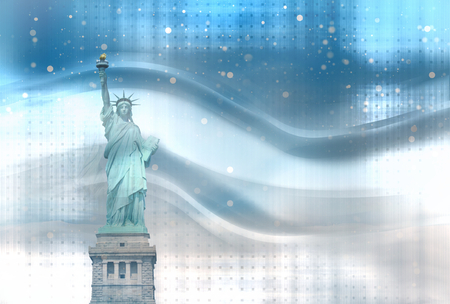 vibrant background: winter modern bright vibrant background statue of liberty graphic