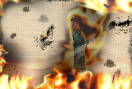 debt collection: Paper texture fire flames burning background Stock Photo