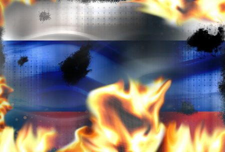 broken contract: Russia fire flames burning background Stock Photo