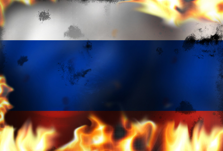 Russia fire flames burning background Stock Photo