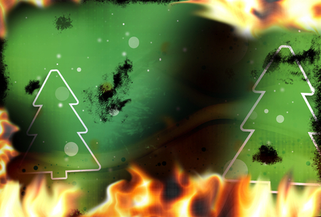 broken contract: Green Firs fire flames burning background