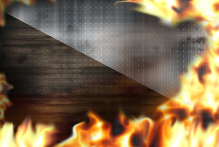 burnt out: wood steel fire flames burning background