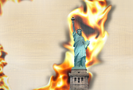 contradiction: Paper Statue of Liberty texture fire flames burning background