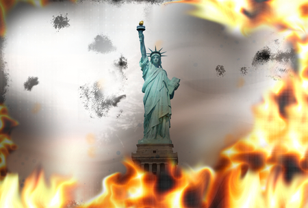 debt collection: Statue of Liberty fire flames burning background