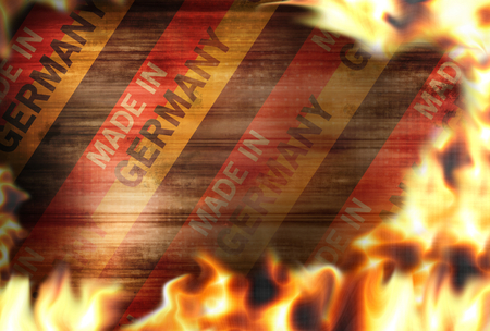 debt collection: made in germany Fire flames burning background