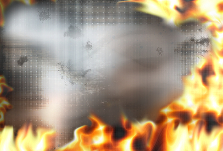 debt collection: steel fire flames burning background