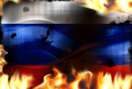 debt collection: Russia fire flames burning background Stock Photo