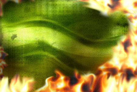 debt collection: Green modern fire flames burning background