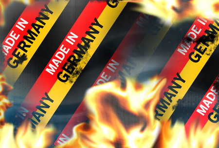 broken contract: made in germany Fire flames burning background