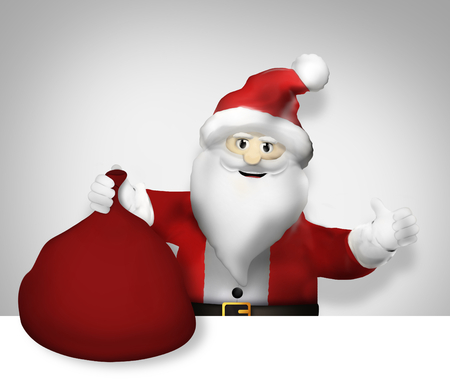 point i: Santa Claus Christmas pointing to and Gifts festive design Stock Photo