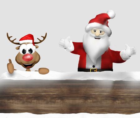 woden: Woden Christmas Santa and Reindeer Stock Photo