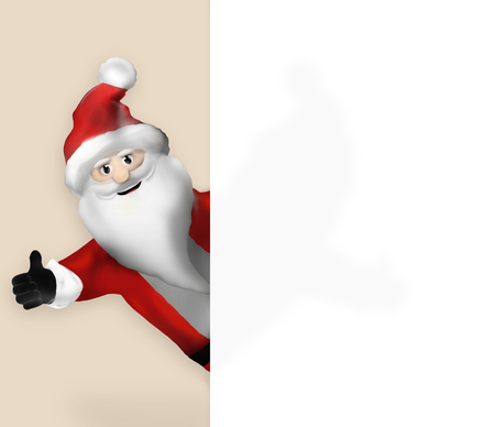 ad space: Santa Claus pointing to banner Stock Photo