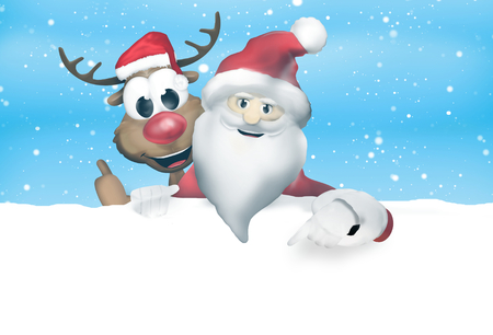 weihnachtsmann: Festive Christmas Santa Claus Reindeer Stock Photo