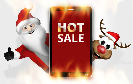 hot sale: Hot Sale Christmas Red Mobile Phone Stock Photo