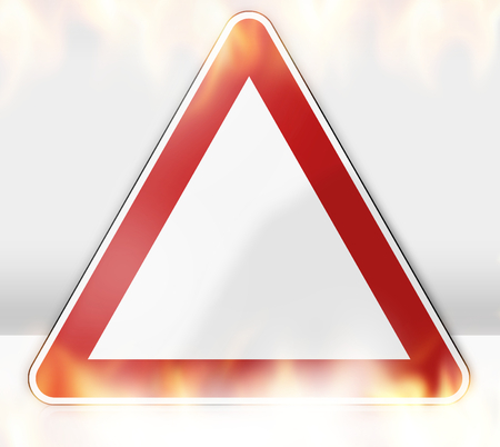 sign: german road sign flames Stock Photo