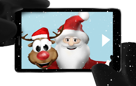 smartphone hand: Santa Claus and Reindeer taking selfie photo