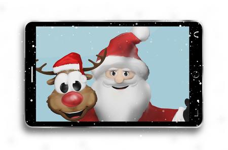 smartphone hand: Santa Claus and Reindeer taking selfie photo