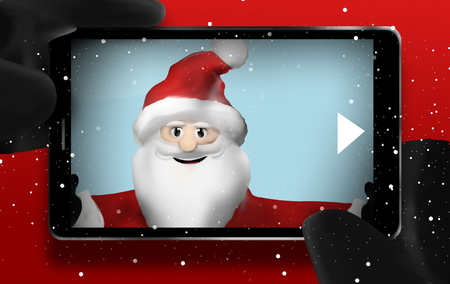 point of view: Santa Claus Browsing Selfie Photos point of view mobile phone Stock Photo