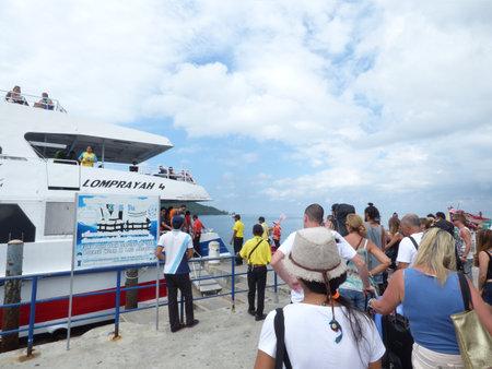 thong: Lomprayah Travel boat at Koh Phangan Thong Sala Pier Editorial