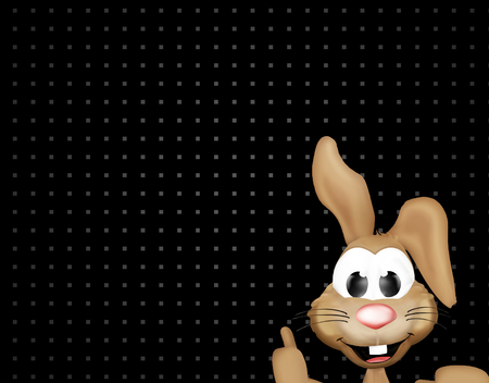 thumbsup: happy easter bunny black dots background Stock Photo