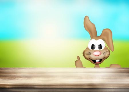 woden: Happy Easter Bunny woden desk table
