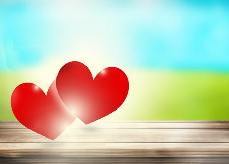 Rode harten openlucht