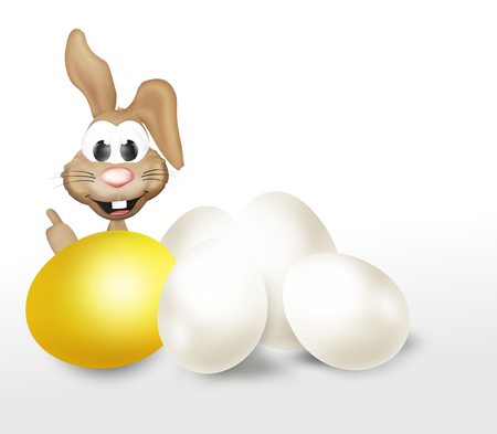 golden egg: festive easter bunny golden egg design Stock Photo