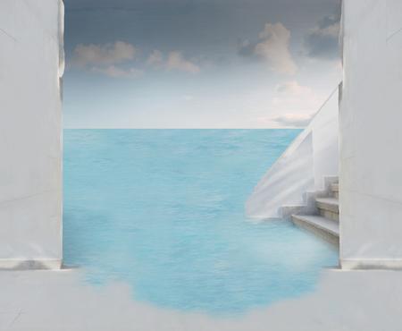building entrance: white building entrance door at ocean