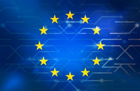 Data Europe lignes de connexion fond Banque d'images