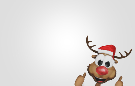 two thumbs up: christmas reindeer corner thumbs up 3d Stock Photo