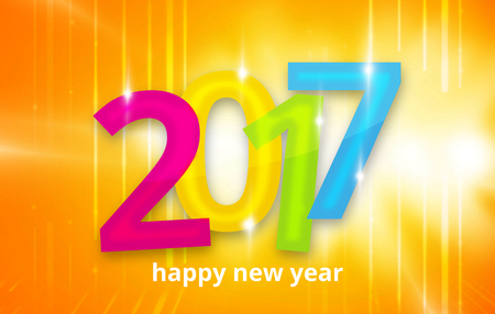 year 3d: 2017 happy new year 3D background Stock Photo