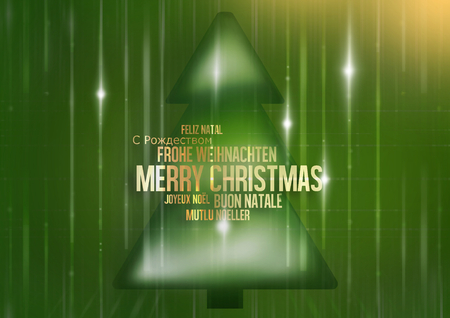 multilingual: multilingual merry christmas green fir
